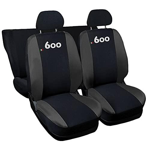 Lupex Shop NGs Coprisedili compatibili 600, Nero-Grigio Scuro, Set di 6