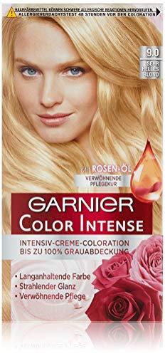 Garnier Color Intense 9.0 Sehr Helles Blond, Dauerhafte Intensive Haarfarbe mit Rosenöl, Haarfarbe blond (3 Stück)