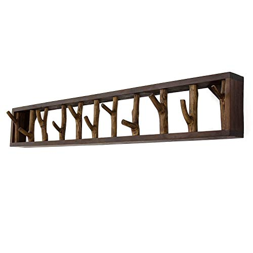 Faunos Perchero de pared XXL de madera flotante, 100 cm, hecho a mano, de madera reciclada, estilo shabby chic, con ramas, estilo vintage
