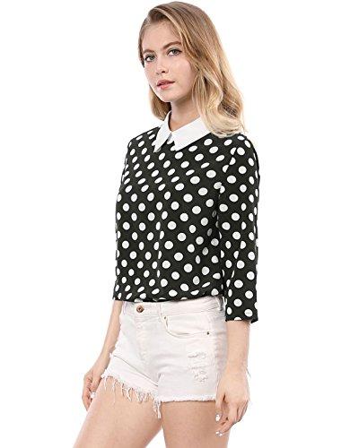 Allegra K Damen Langarm Panel Bubikragen Polka Dots Top Bluse, XS (EU 34)/Schwarz