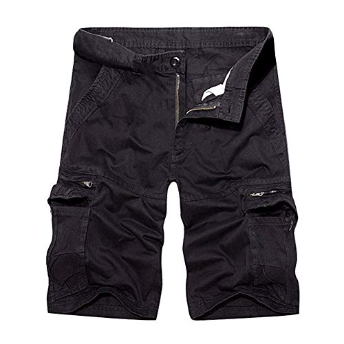 Herrbar Herren Cargo Shorts Baumwolle Bermuda Vintage Casual Kurz Hose (Schwarz, W38)