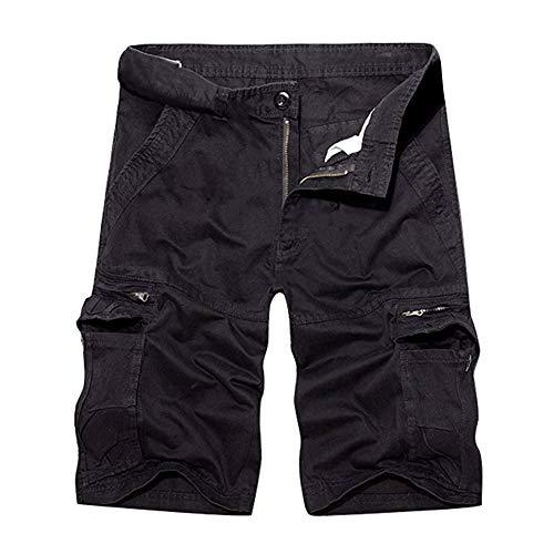 Herrbar Herren Cargo Shorts Baumwolle Bermuda Vintage Casual Kurz Hose (Schwarz, W34)