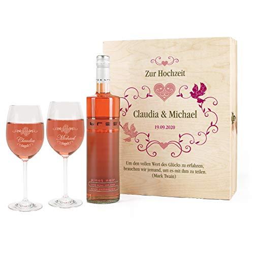 Leonardo Edles Weinset Geschenk zur Hochzeit mit BREE Rosé Wein, Leonardo Weingläsern u. persönlicher Gravur