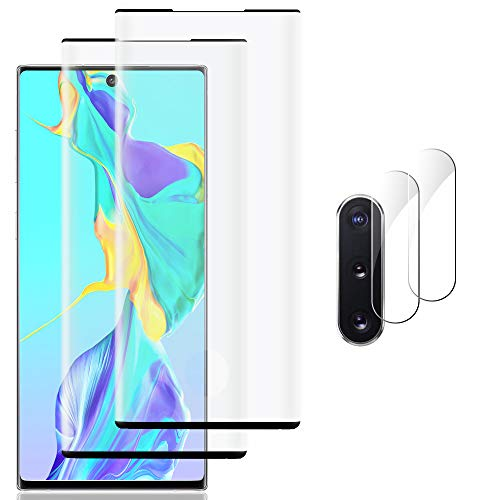 [4 Pack] Galaxy Note 10 Screen Protector Include 2 Pack Tempered Glass Screen Protector +2 Pack Tempered Glass Camera Lens Protector,9H Hardness,HD Transparent,Anti-Fingerprint for Galaxy Note 10