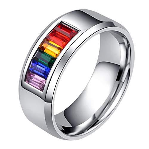 Happyyami Anillos de Pareja de Colores del Arco Iris Anillo de Promesa...