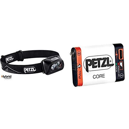 PETZL Actik Core Linterna Frontal, Unisex Adulto, Negro, Talla Única + E99ACA, Batería Recargable Compatible con Linterna Hybird, Blanco