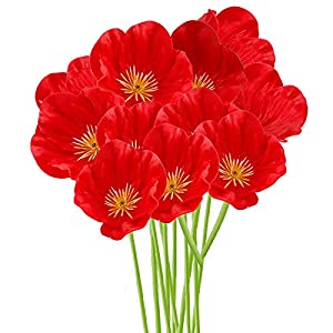 FXforer 10 Pcs Red Poppies Artificial Flowers,12.5In Anemone Stems PU Real Touch Poppy Anemone Fake Flowers Bouquet Floral Arrangements for Wedding Home Living Room Table Centerpieces Decor