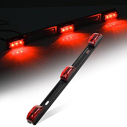 Partsam Red ID BAR Marker Light 3 Light 9 LED Trailer Sealed Stainless Steel, Sealed 3-Light Truck and Trailer Identification LED Light Bar Red Led Strip w/Black Base