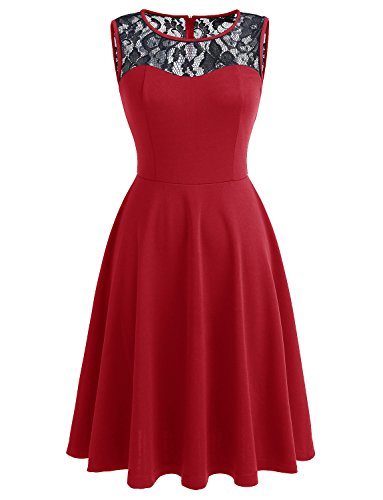 Dressystar Women Vintage Cocktail Party Dresses Sleeveless Lace Neckline Black Red XXXL