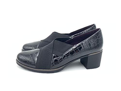 PITILLOS 6330 Zapato Elasticos Tacon Medio Mujer Negro 40