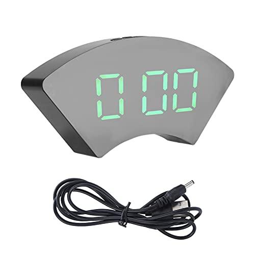 Despertadores eléctricos LED, Reloj Digital LED con Espejo para Dormitorio, Oficina, hogar y Escuela(Verde, Tipo de Torre Inclinada de Pisa)
