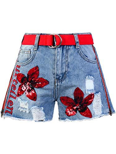 Korte broeken Losse Korte Jeans Voor Dames Met Wijde Pijpen, Vintage Borduursel-Denimshorts En Ritsen Aan De Zijkant Met Gaten, Straatbroek Voor Dames