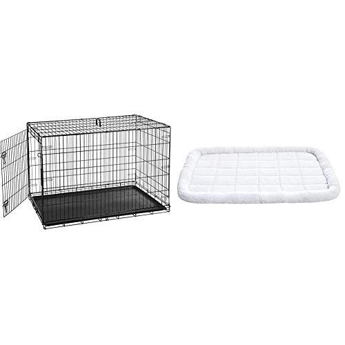 AmazonBasics Hundekäfig mit 2 Türen, Metall, zusammenklappbar & Gepolstertes Haustierbett mit Rand - 1,16 m x 71 cm