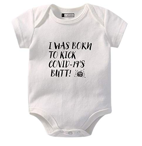 Cute and Funny Baby Onesie Romper Bodysuit -'I was Born to Kick COVID-19's Butt!'. For Baby Boys and Girls. By Unity195
