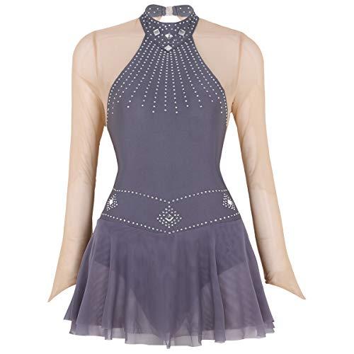 iixpin Maillot de Ballet Manga Larga de Malla Transparente Vestido de Danza Body Baile de Fiesta Espalda Abierta Traje Bailarina Actuación Gris S