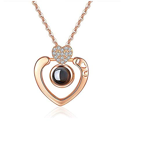 Collar de Plata de Ley 925 con Colgante de Amor para 100 Idiomas, Collar de Oro de 14 K para Mujer, Collar de Oro Rosa para su Amante