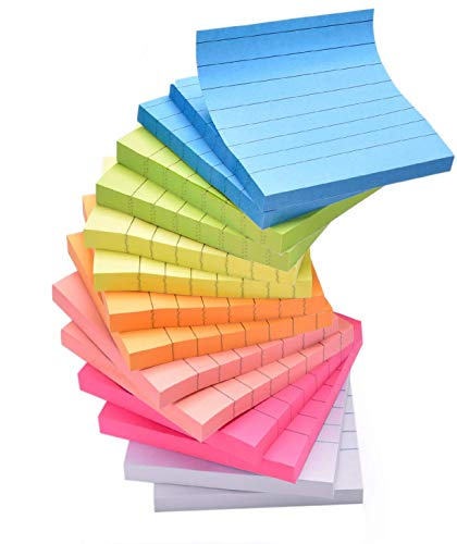Sticky Note Pads 14 Pads Lined 3x3 inches Sticky Notes 7 Bright Colors Self-Stick Notes with Lines 80 Sheets/Pad Easy Post Individually Wrapped Red Pink Green White Yellow Orange Blue