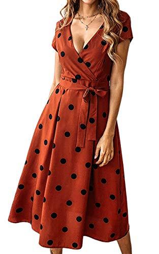 ECOWISH Damen Punkte Kleid V-Ausschnitt Sommerkleider Kurzarm Freizeitkleider Midi Strandkleid mit Gürtel Ziegelrot M