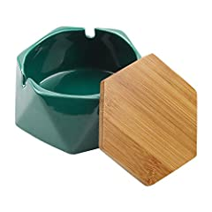 【The Lid Design】 The ashtray with lid can effectively prevent the diffusion from smoke and odor, to protect health, and prevent the secondary hurt of cigarettes. 【Sturdy Material】The smooth ceramic material has super heat resistance and flame retarda...
