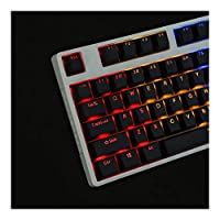 キーキャップ ブラックホワイトプロファイルPBTダブルメカニカルキーボードの場合は半透明のバックライト付きキーキャップ104〜108印刷磨きショット (Color : OEM profile black)