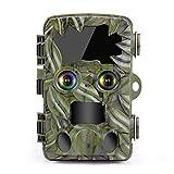 屋外トレイルカメラナイトビジョン、4Kデュアルレンズ、20MP 120°広角ワイルドライフカメラ、ナイトビジョンモーションアクティブ化、防水IP66