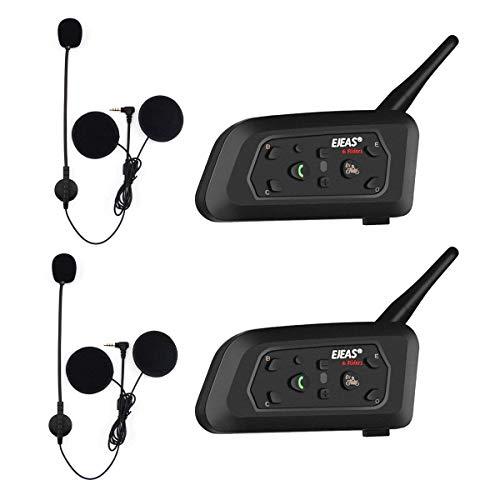 EJEAS V6 Pro BT Interphone 1200M Bluetooth Motocicleta Motocicleta Casco Intercom Auriculares con Interfono Duplex Control Avanzado de Ruido para hasta 6 Riders (2 Pieza)
