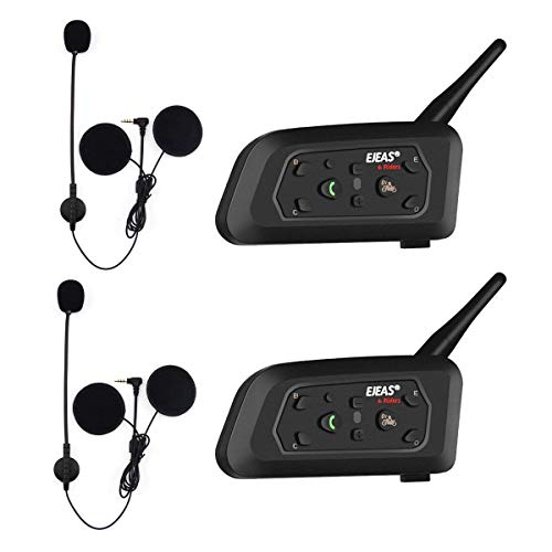 EJEAS V6 Pro BT Interphone 1200M Bluetooth Motocicleta Motocicleta Casco Intercom Auriculares con Interfono Duplex Control Avanzado de Ruido para hasta 6 Riders (2 Pieza)