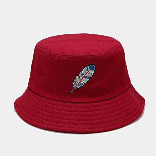 Sombreros de cubo de mujer,Sombrero de pescador con estampado de plumas clásico, sombrero de playa de algodón al aire libre de verano, vino tinto,Sombrero de playa para mujeres hombres adolescentes
