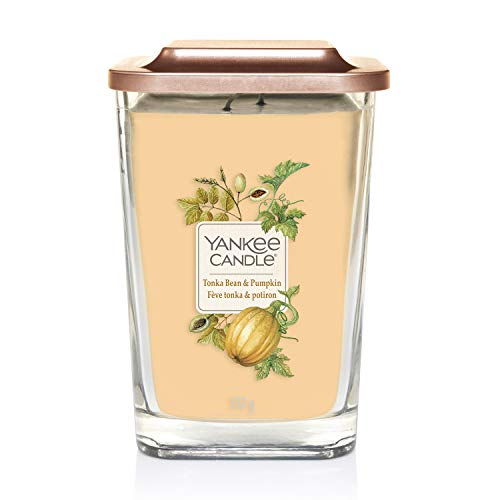 Yankee Candle - Colección Elevation, Vela aromática grande cuadrada de 2mechas con tapa de plataforma, haba tonka y calabaza