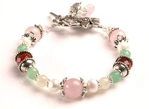 Juno Fertility and Pregnancy Bracelet featuring Gemstones Rose Quartz, Moonstone, Green Aventurine, Carnelian, Freshwater Pearls, Holistic Healing Jewelry