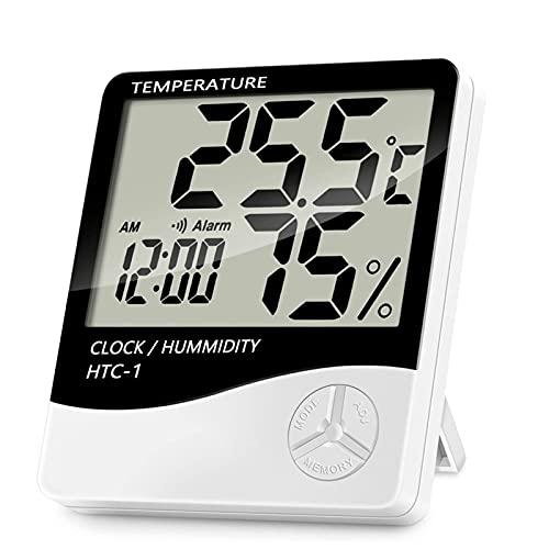 DWAC LCD Despertador Digital, Medidor de Humedad de Temperatura Digital Electrónico Interior Termómetro Exterior Higrómetro Estación de Clima