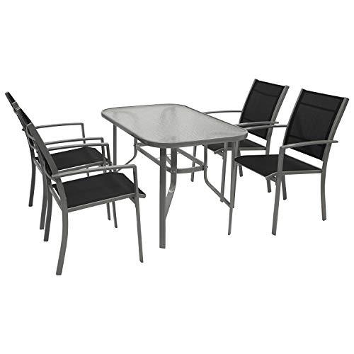 DEGAMO Gartengarnitur Pino 5-teilig, 4X Stapelsessel mit Stahlgestell und Kunstgewebebespannung 2 * 1 schwarz, 1x Tisch 70x120cm mit Stahlgestell und Glasplatte