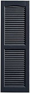 "Shutters, Louvered Shutters, Standard Louvered Exterior Vinyl Window Shutters, Dark Blue, (1 Pair = 2pcs) 14""W x 48.75""H"