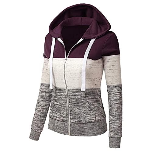 OutTop Women Hooded Zip Up Coat Winter Warm Long Sleeve Jackets Sweatshirt Crop Top Casual Outwear with Pocket (#02-Purple, XXL)