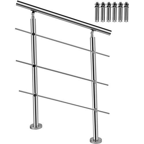 BuoQu Treppengeländer 100 cm, Französischer Balkon Geländer Bausatz, Edelstahl Handlauf Boden Montage mit 3 Querstangen, Hauseingang Balkongeländer Balkon Bausatz, Handlauf Innenbereich Außenbereich