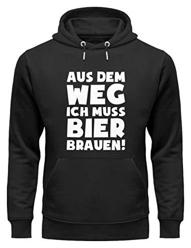 shirt-o-magic Braumeister: Muss Bier brauen! - Unisex Organic Hoodie -M-Schwarz