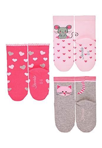 Sterntaler Mädchen Söckchen, Maus-/Katzen-Motiv, 3er-Pack, Alter: 12-24 Monate, Größe: 19/22, Rosa/Pink/Hellgrau