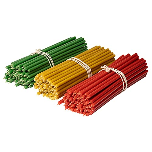 Diveevo Ritual Candles Beeswax Candles: Yellow, Red, Green, Pack of 150, Length 18.5 cm, Diameter 6.1 mm, Burn Time 60 Min; Natural, Drip Free, Smokeless Thin Church Quality, Made of Beeswax No. 80