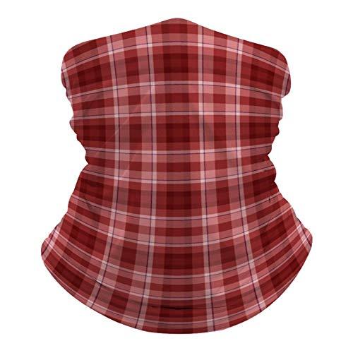 DKE&YMQ Pañuelo multifuncional para la cabeza, bufanda elástica, tubo mágico, pasamontañas, pasamontañas, para yoga, correr, senderismo, ciclismo, patrón de cuadros, color marrón, colorido, rojo