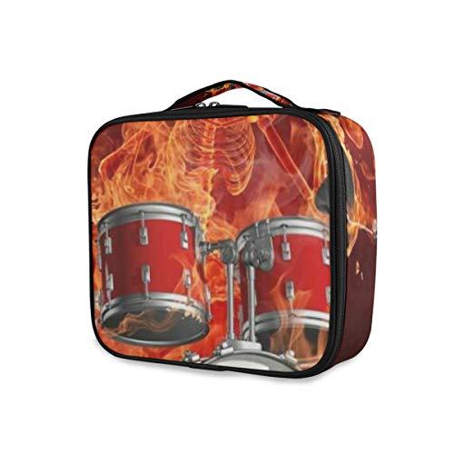 SUGARHE Feuer Schädel, der Schlagzeug Felsen kühle Persönlichkeit spielt,Kosmetik Reise Kulturbeutel Täschchen mit Reißverschluss