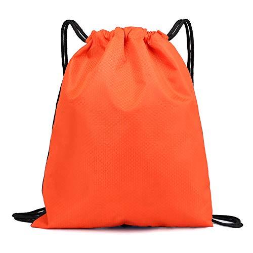 Mochila con cordón para deportes, gimnasio, resistente al agua, con cuerda de viaje, gimnasio, baloncesto, zapatos, mochila para hombres y mujeres, naranja/fiesta de bloques, Large
