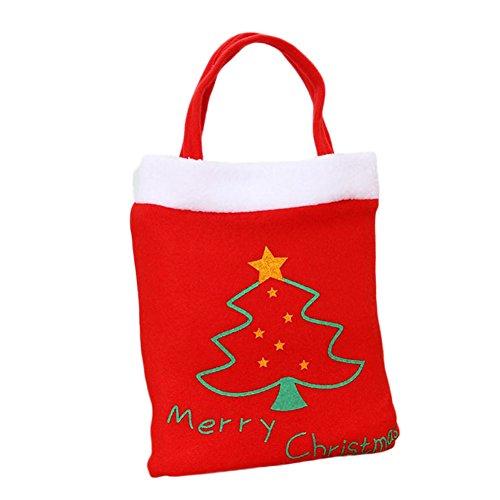 Lumanuby 1X Sacs à bonbons Noël Sac en Cadeau de Modèle d'arbre de Noël Bonbons Biscuit Chocolat Cadeau pour Enfant Rouge Sac Décoration de Fête Sac de Père Noël Sac à Bandoulière Sacs à Provisions Verts