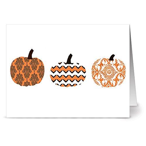 Note Card Cafe Halloween Cards with Tangerine Zest Envelopes | 24 Pack | Patterned Pumpkins Vertical Design | Blank Inside, Glossy Finish | Greeting, Fall, Bulk