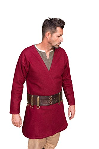 Burgschneider Mittelalter Wikinger Larp Klappenrock Loki - Wolle Rot M