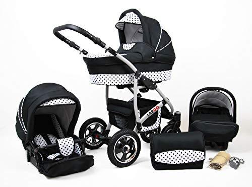 Kinderwagen Largo,3 in 1 -Set Wanne Buggy Babyschale Autositz mit Zubehör Black Dots