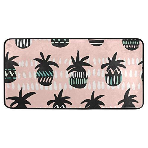 Bardic anti-slip deurmat roze en zwart patroon ananas Silhouettes deurmat machine wasbare slaapkamer mat voor het leven dineren kamer slaapkamer keuken,50.8x99cm