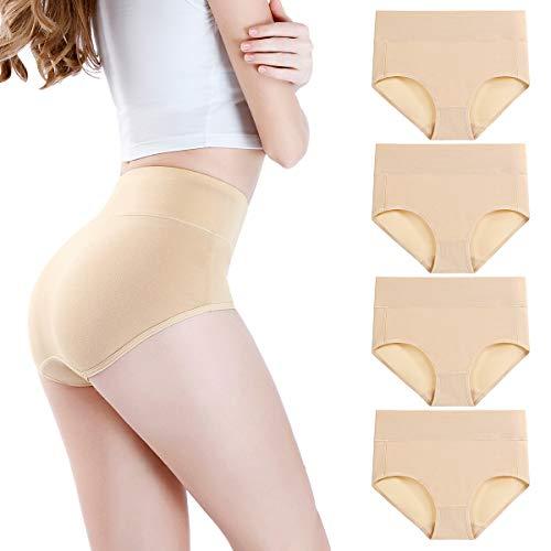 wirarpa Damen Unterhosen 4er Pack Panties Slips Damen Unterwäsche mit Hoher Taille Ultra Weich Taillenslip Hautfarbe Große Größe XL