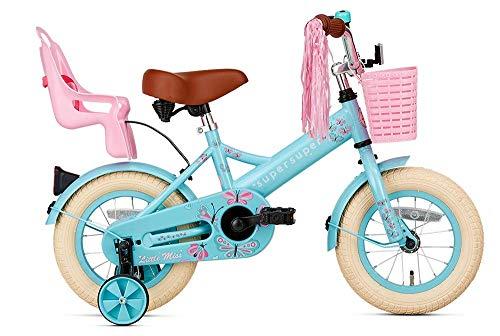 POPAL SuperSuper Little Miss Kinder Fahrrad für Kinder | Fahrrad Mädchen 12 Zoll ab 2-4 Jahre| Kinderrad met Stützrädern | Rad mit Korb und Puppensitz |Turquoise
