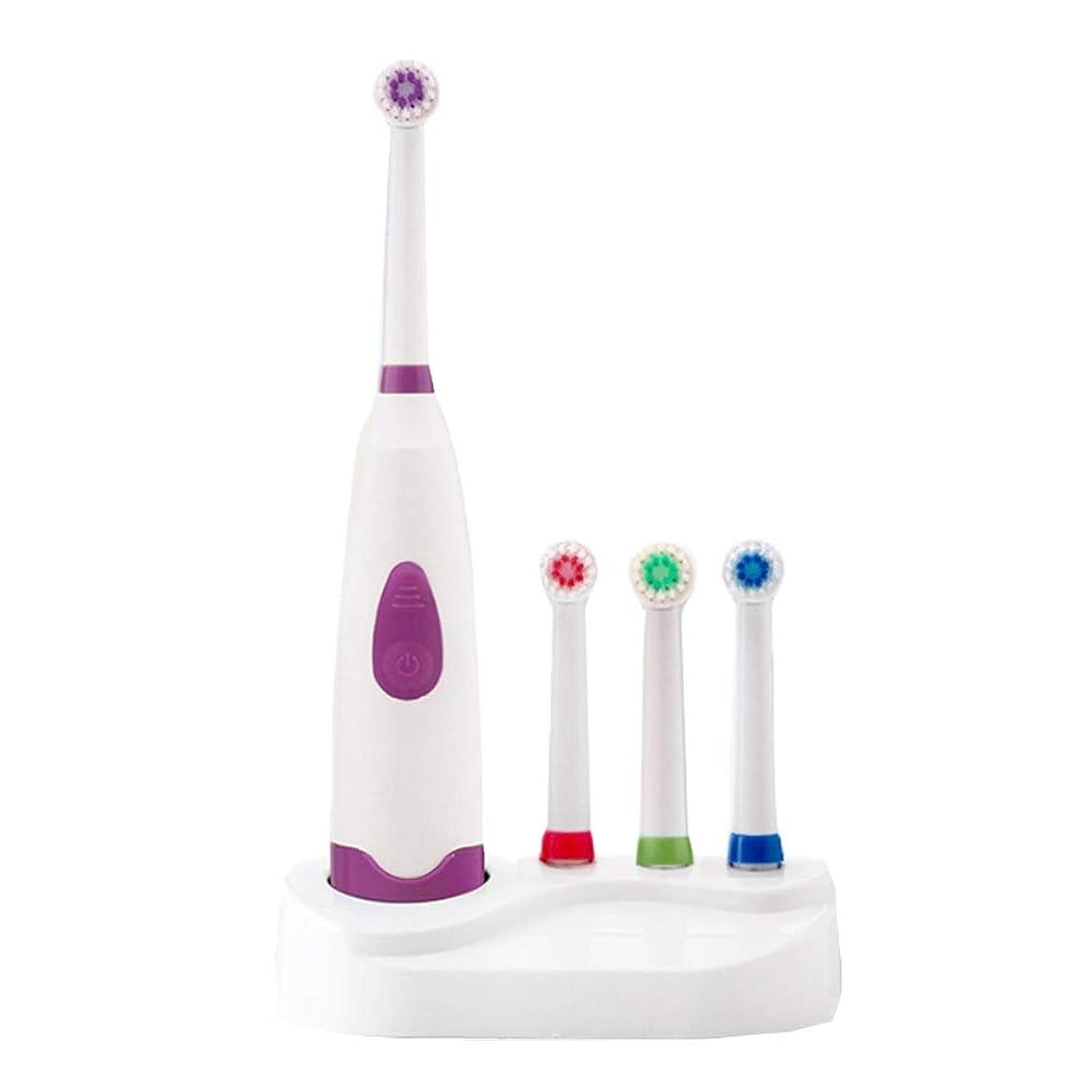 混乱ホイッスルビルダー自動電動歯ブラシIPX7防水超音波ロータリー歯ブラシ4ブラシヘッド大人子供電動歯ブラシ,Purple