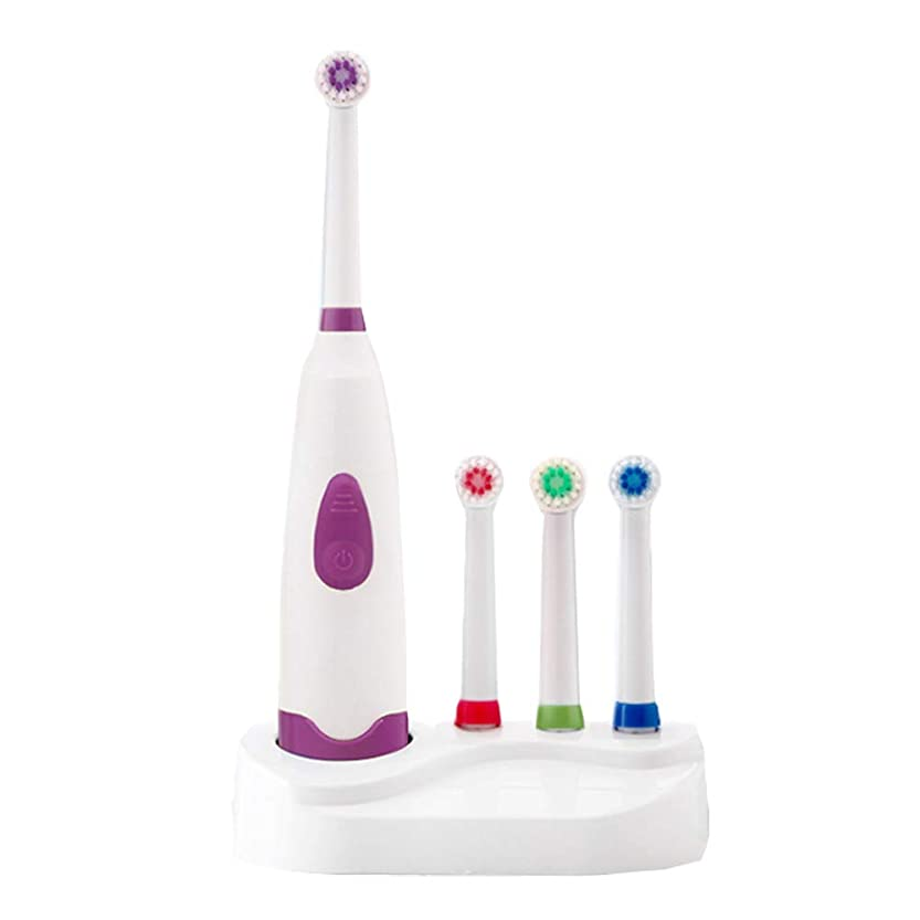 ボタンやめる疫病自動電動歯ブラシIPX7防水超音波ロータリー歯ブラシ4ブラシヘッド大人子供電動歯ブラシ,Purple